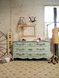 Painted Cottage Chic Shabby Aqua French Dresser by paintedcottages, $525.00