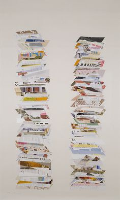 """Frances Stark, In and In, 2005  Mass mailers, linen tape and rice paper  67.25 × 41.25"""""""