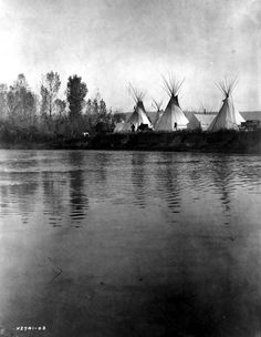 A Crow Indian encampment with tipis, tents, wagons, horses and men as seen from the distant shore of the river. Photograph was taken by Edward s. Curtis, c1908.