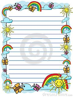 Kiddy syled stationery with smiling sun, clouds, rainbow and butterfly