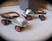 1960s metal ROLLER SKATES w/ Leather Ankle Buckles