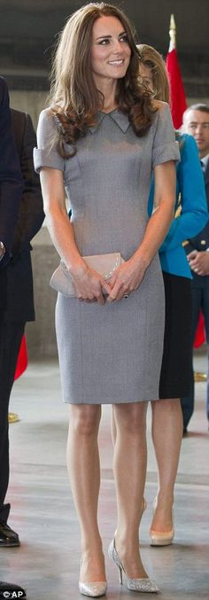 Duchess of Cambridge.. grey Kensington dress by Catherine Walker, grey Somerton Clutch from Hobbs, silver Tabitha Simmons pumps, accessorised with Links of London earrings