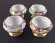 Vintage Chintzware | Open Salt Dip Cellars Hand Painted Porcelain Vintage Set of Four