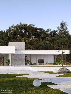 Modern House Bungalow Exterior By Ar Sagar Morkhade: Minimalist Villa On Behance