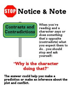 notice and note signpost anchor charts notice and note reading
