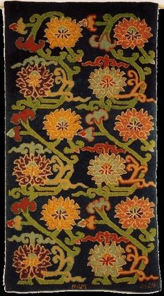 "wasbella102: "" Tibetan Peony and Lotus, Source: an early 20th century Tibetan village carpet design """