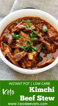 Instant Pot Pressure Cooker Low Carb Kimchi Beef Stew,  Instant Pot Pressure Cooker Low carb Kimchi Beef stew is an easy Korean-style dump and cook keto low carb recipe that's full of spicy, umami flavor. Guaranteed to perk up your taste buds, and taste like you slaved for hours to get this complex taste.   Two Sleevers