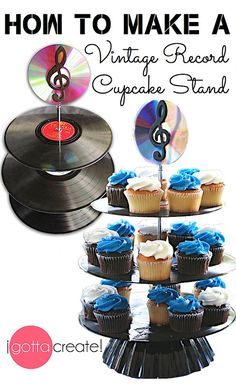 How to make a Vintage Record Cupcake Stand! I love this idea for a wedding or bi. How to make a Vintage Record Cupcake Stand! I love this idea for a wedding or birthday. Music Themed Parties, Music Party, Fun Music, 60th Birthday Party, Birthday Party Decorations, Birthday Music, Birthday Cupcakes, Valentine Cupcakes, Birthday Celebration