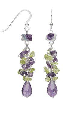 Jewelry Design - Earrings with Amethyst Gemstone Beads, Peridot Gemstone Beads and Rainbow Fluorite Gemstone Beads - Fire Mountain Gems and Beads