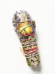 Smudge Sticks wrapped in lavender and rose buds