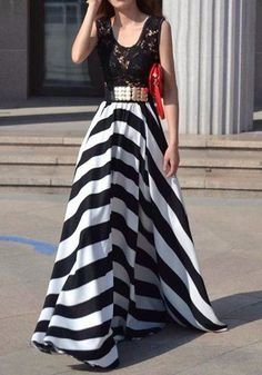 Black-White Striped Patchwork Lace Sleeveless Maxi Dress
