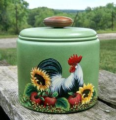 Rooster canister/sunflowers