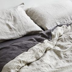 Striped Duvet Cover - 100% Linen in Grey & White Stripe - IN BED Store
