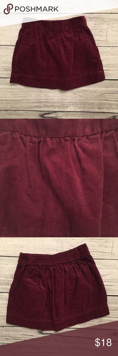 Crewcuts Burgundy corduroy dress with pleats along the waistline and pockets. The back of the skirt is elastic J. Crew Bottoms Skirts