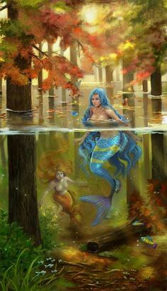 "artsfantasia: Magical Forest by Archie ""Archie-The-RedCat"" (A World of Fantasy) Fantasy Mermaids, Mermaids And Mermen, Magical Creatures, Sea Creatures, Fantasy Kunst, Fantasy Art, Art Magique, Mermaid Fairy, Siren Mermaid"