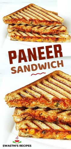 Paneer sandwich is a quick to make snack or breakfast. Indian cottage cheese aka paneer is spiced & then stuffed in the sandwich. This recipe post shares 3 ways of making paneer sandwich. Indian Snacks, Indian Food Recipes, Vegetarian Recipes, Sandwich Recipes, Snack Recipes, Cooking Recipes, Paneer Sandwich, Paneer Dishes, Delicious Restaurant