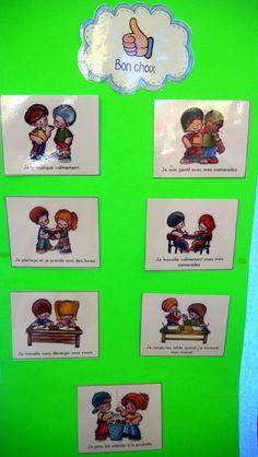 Lister les comportements à adopter et faire verbaliser les enfants. Behaviour Management, Behaviour Chart, Classroom Management, Petite Section, Kindergarten, Teaching, Activities, Kids, Motivation Boards