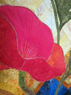 """close up, Poppy by Rachel Derstine: """" I stitched down all the raw edges with a zig zag stitch with invisible thread. I also couched around all the raw edges."""""""