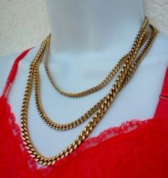 Vintage Gold Chain Link Necklace Bold 3 Strand by WeeLambieVintage, $22.00