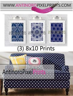 Navy White Vintage / Modern inspired Damask Wall Art Prints Collection  -Set of (3) - 8x10 Prints -   (UNFRAMED) on Etsy, $35.00