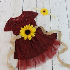 Burgundy Flower Girl Dress Sunflower Flower Girl Dress Rustic Flower Girl Dress Country Flower Girl Dress 3 Piece Flower Girl Set Dress ~♥~ 1 Sash ~♥~ 1 Headband ~♥~ This Burgundy Lace Dress is perfect for a Rustic Shabby. Flower Girl Dresses Country, Rustic Flower Girls, Rustic Flowers, Flower Girl Dresses Burgundy, Fall Flower Girl, Lace Burgundy Dress, Red Lace, Diy Flowers, Chic Wedding