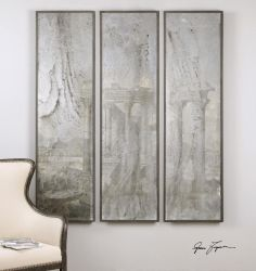 Antiqued Mirrored Views, S/3 : 9LUU4 | Garbe's Wood frames have a soft black base coat with gray and light brown accents and a gray wash. Prints are under glass. Designer: Grace Feyock  Dimensions: 20 W X 71 H X 2 D (in)  www.garbes.com