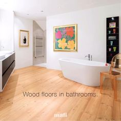 Create your own bathroom oasis with mafi natural wood floors. Irresistible, elegant design and comfort made possible by a natural finishing with oil. Join us for more! Small Mediterranean Homes, Wood Floor Bathroom, Natural Wood Flooring, Oasis, Floors, Tiles, Join, Architecture, Elegant