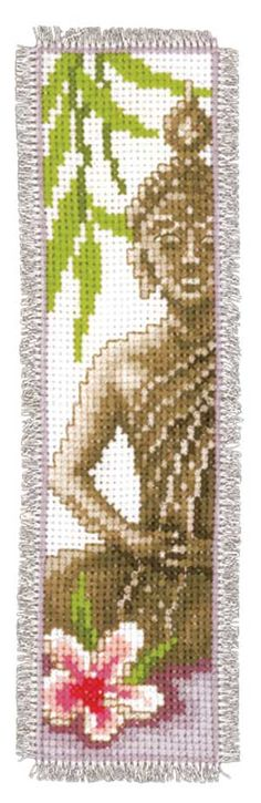 Buddha Mindfulness Bookmark, counted cross-stitch