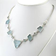 Sterling Silver Aquamarine Rough Gems and Tears Necklace Clean Sterling Silver, Arrow Necklace, Beaded Necklace, Aquamarine Gemstone, Hand Weaving, Gemstones, Chain, Metal, Bali