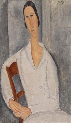 Amedeo Modigliani Italian, 1884–1920 Madame Hanka Zborowski Leaning on a Chair (Madame Hanka Zborowski accoudée à une chaise) 1919 Oil on canvas 36 1/4 x 21 3/8 in. (92.1 x 54.3 cm)