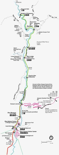 "Hiking Zion National Park Map- this is the ""scenic trail drive"" where most of the hiking trails are. Awesome trails."