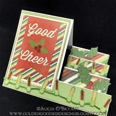 Hello, Alicia with you today with some card inspiration. I used a special fold to create some good cheer for the upcoming holiday season. Jolly Holiday, Holiday Cards, Side Step Card, Quick Quotes, Golden Goddess, Step Cards, Good Cheer, Design Quotes, Creative Cards