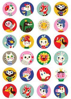 <p>Een A5 stickervel met prachtige ronde stickers van Helen Dardik op basis van de melamine bordjes.<br />Geschikt voor jongens, meisjes en voor volwassenen.</p> <p>Gedrukt op 90 grams hoogwaardig stickerpapier. Een sticker heeft een diameter van 3 cm.</p>