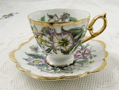 Shafford Tea Cup and Saucer with Flowers Hand Decorated, Vintage Bone China, Japanese Tea Cup, Made in Japan