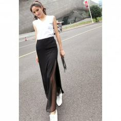 $8.79 Casual Style Solid Color Splicing Skirt For Women
