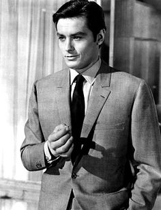 """Alain Delon-- """"Most men, when not sporting a tie, look infinitely better with at least the first button undone"""""""