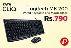 Tata CLiQ #ElectronicsSale is offering 39% off on Logitech MK 200 Wired Keyboard and Mouse Black Just at Rs.790. The Logitech MK200 Media Combo includes a functional keyboard and a high-definition optical mouse for smooth computing.   http://www.paisebachaoindia.com/logitech-mk-200-wired-keyboard-and-mouse-black-just-at-rs-790-tatacliq/