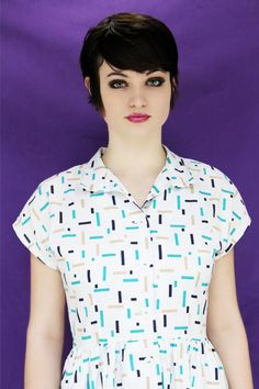 80s New Wave Dress 50s Inspired Party by neonthreadsdesigns. $42.00, via Etsy.