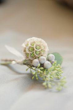 The boutonnieres will be scabiosa pods, seeded eucalyptus, and silver brunia wrapped in ivory ribbon with the stems showing.