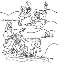 coloring gideon selecting his army kids korner biblewise