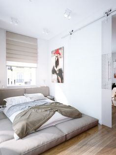 cosy bedroom (via Modern Red Apartment For A Young Couple)