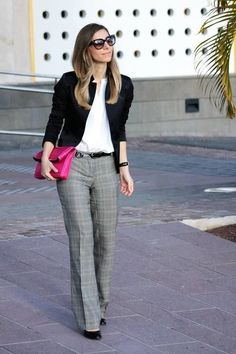This combo of a black blazer and grey plaid slacks is a safe bet for an effortlessly cool look. This outfit is complemented perfectly with black leather pumps.  Shop this look for $109:  http://lookastic.com/women/looks/sunglasses-blazer-dress-shirt-belt-clutch-watch-dress-pants-pumps/6179  — Black Sunglasses  — Black Blazer  — White Dress Shirt  — Black Leather Belt  — Hot Pink Leather Clutch  — Black Leather Watch  — Grey Plaid Dress Pants  — Black Leather Pumps