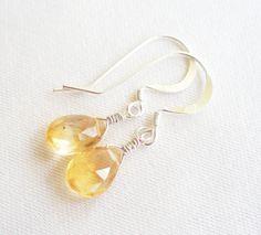 Sterling Silver AAA Lemon Quartz Faceted Briolette  Earrings on Etsy, $34.00