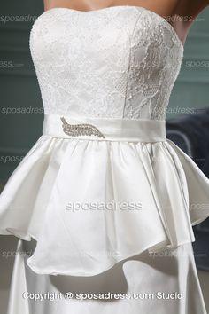 Elegant Simple White Strapless A-line Court Train Wedding Gown