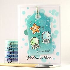 card sea seaside ocean water jellyfish starfish Lawn Fawn So jelly I´m so jelly tag on card