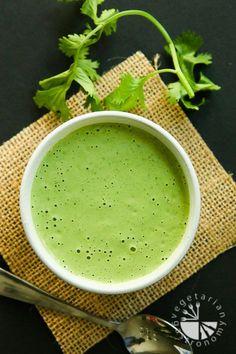 Creamy Cilantro Tahini Sauce recipe! Easy quick blender versatile sauce. | www.vegetariangastronomy.com | #vegan #glutenfree