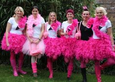 Last minute DIY carnival costume - flamingo, raven, swan or parrot ? - You can find the ultimate, last minute tip for a creative, original DIY costume at www. Flamingo Halloween Costume, Group Halloween Costumes, Group Costumes, Diy Costumes, Costumes For Women, Halloween Diy, Costume Ideas, Halloween Vector, Halloween 2018