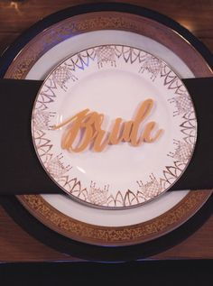 Special place setting for the Bride made of vintage plates mismatched marked by Bride in word collection by Kelsea Holder Photography Vintage Plates, Place Settings, Decorative Plates, Have Fun, Events, Bride, Photography, Wedding, Collection