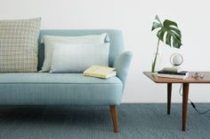 nice couch in blue -- love this color scheme