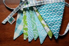 Baby Boy Flag Bunting with Striped Trim by StarlitNestGifts, $24.00